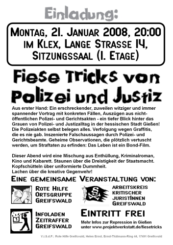Fiese Tricks Flyer Greifswald