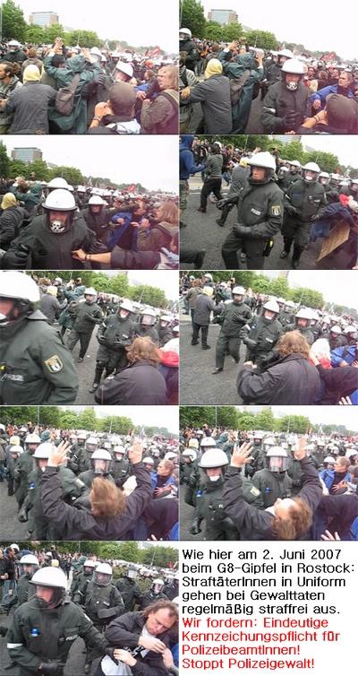 Polizeigewalt am Beispiel 2. Juni 2007 in Rostock