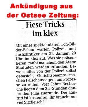 Ankündigung OZ Fiese Tricks Greifswald