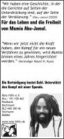 Anzeige Spendenaufruf Mumia Abu-Jamal